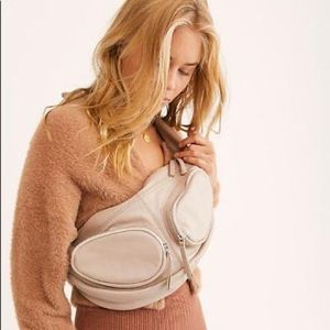 NEW Free People Kaia Leather Sling Bag Cream